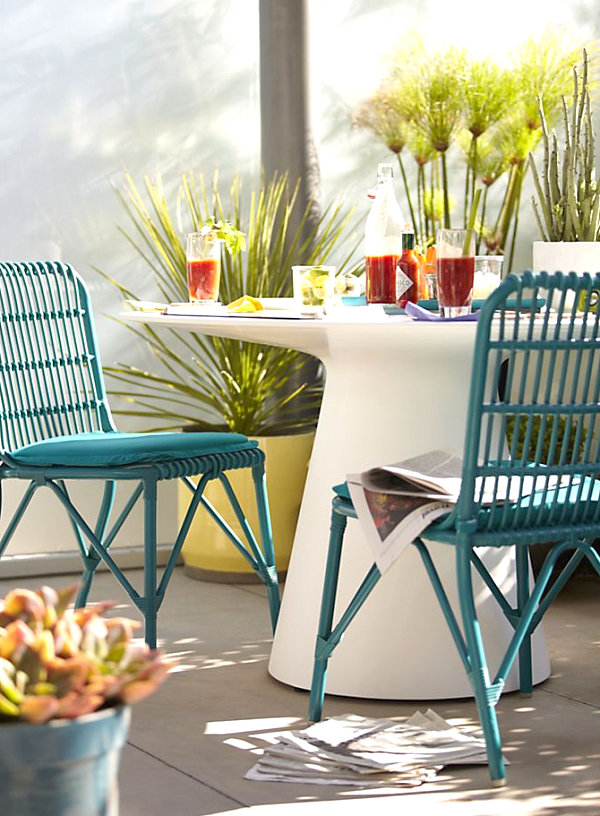Stylish Outdoor Furniture Finds - White metal outdoor dining table