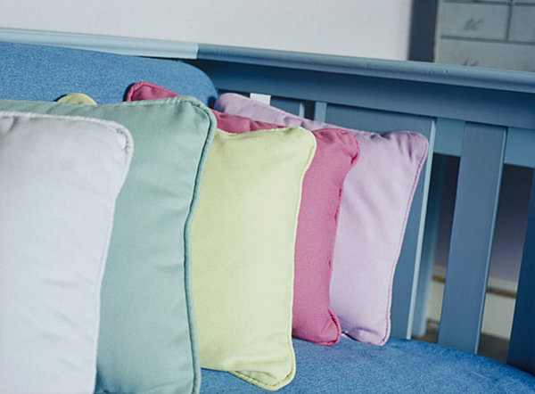 Row of pastel pillows