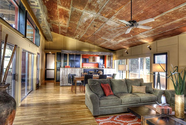 Salvaged ceiling panels in a modern home