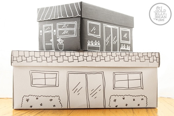Shoe box toy storage with hand drawn picture Simple Toy Storage Ideas for Easy Organization