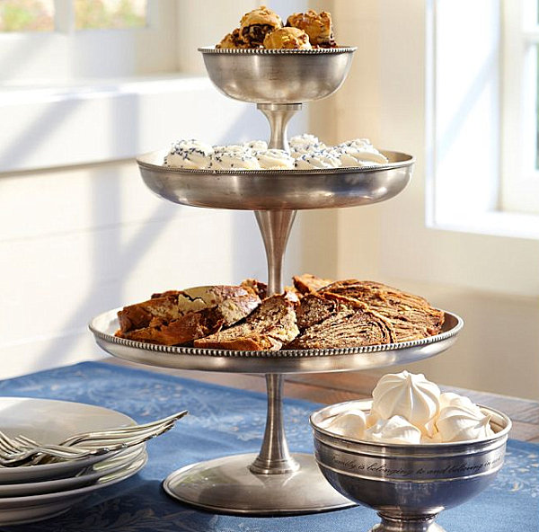 Silver tiered serving stand