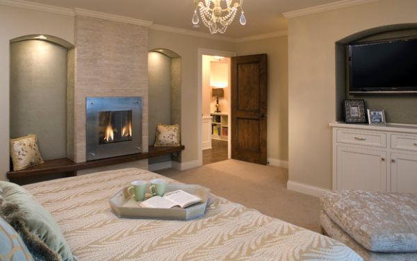 Simple fireplace for a cozy bedroom