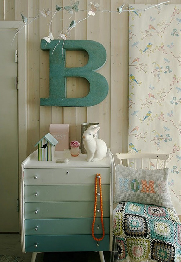 Sky blue ombre painted dresser
