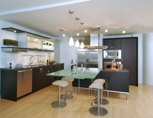 Sleek and ergonomic kitchen with a blend of track lighting and pendant lights