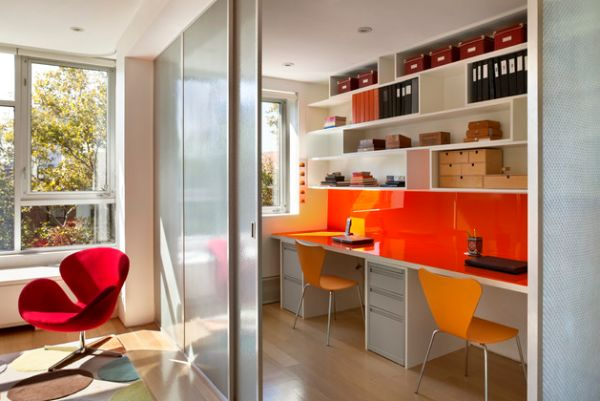 ... Sleek desks and sliding glass doors make this the perfect study space  for kids