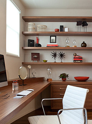 Sleek storage in a home office