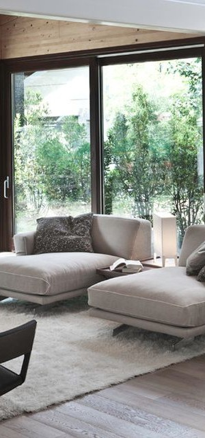 Soft contemporary living room with chaise lounges in cool gray