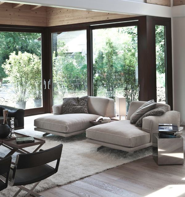soft contemporary living room with chaise lounges in cool