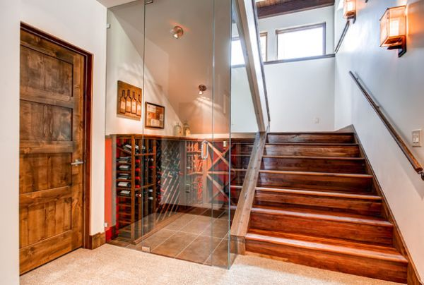 Space underneath the stairs transformed into wine storage unit