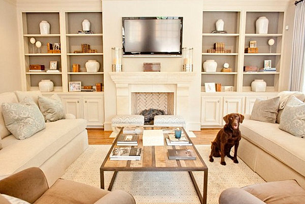 view in gallery sparsely decorated bookshelves - Shelving Ideas For Living Room
