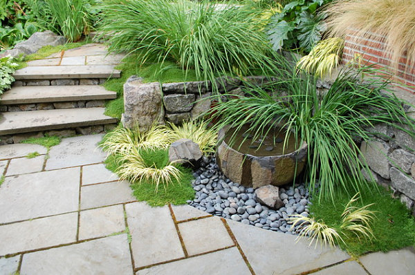 Special touches in a landscaped backyard