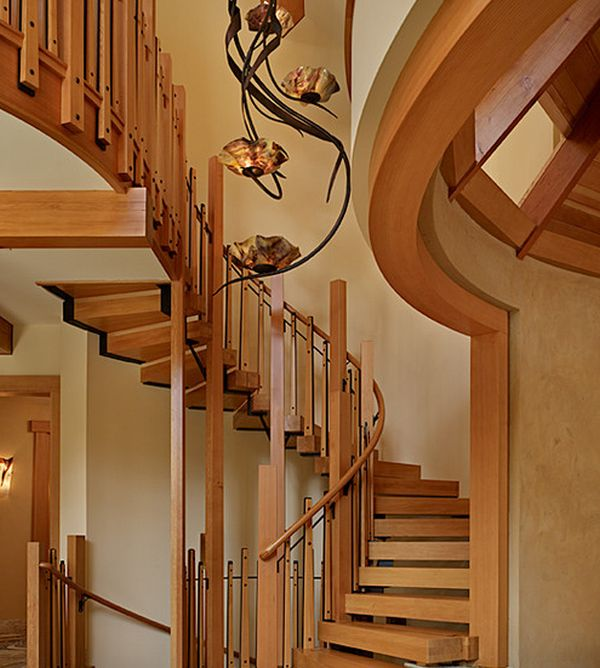 Suspended style 32 floating staircase ideas for the for Curved staircase design plans