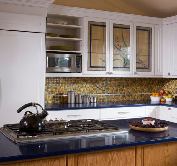 stained glass door kitchen cabinets for those who love a dash of color