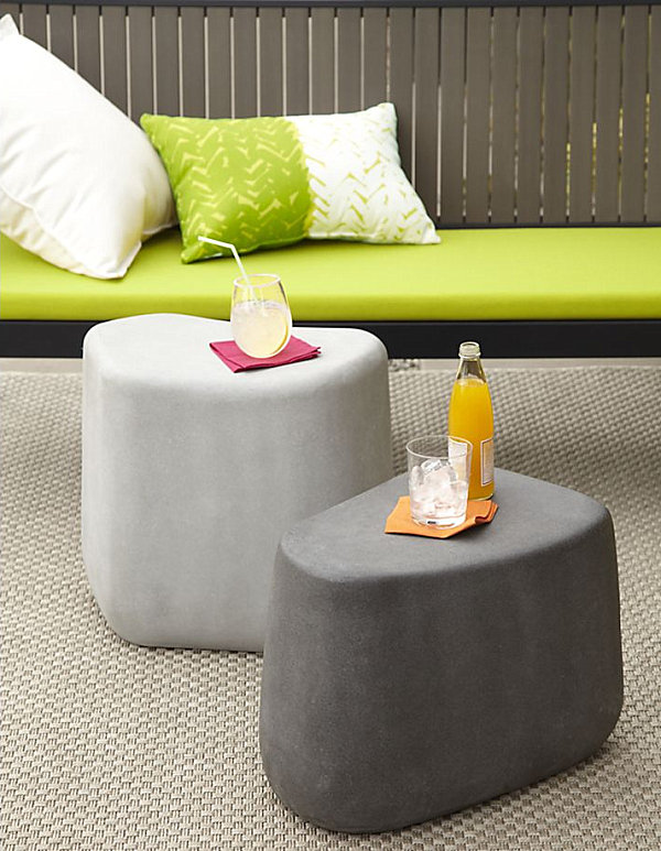 Stone stools and side tables