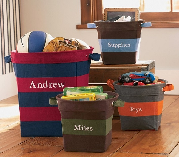 Striped monogramed canvas storage bins