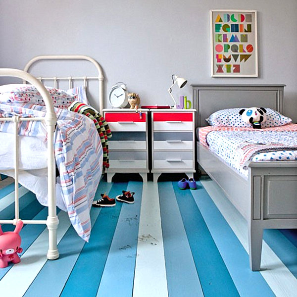 View in gallery Striped painted bedroom floor