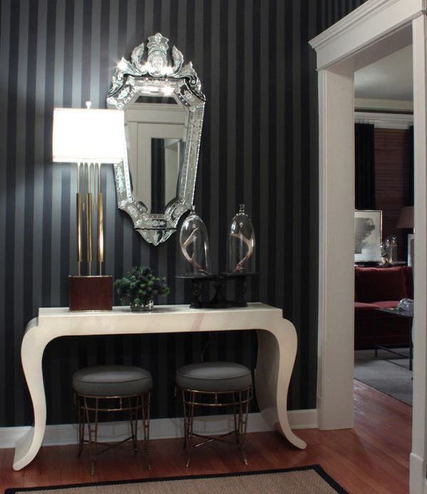 Stripes in black and grey are a cool modern take on the Hollywood Regency style