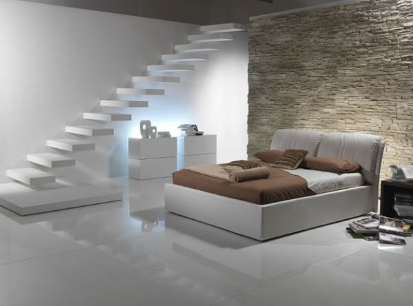 Stunning floating staircase in white for the minimalist home