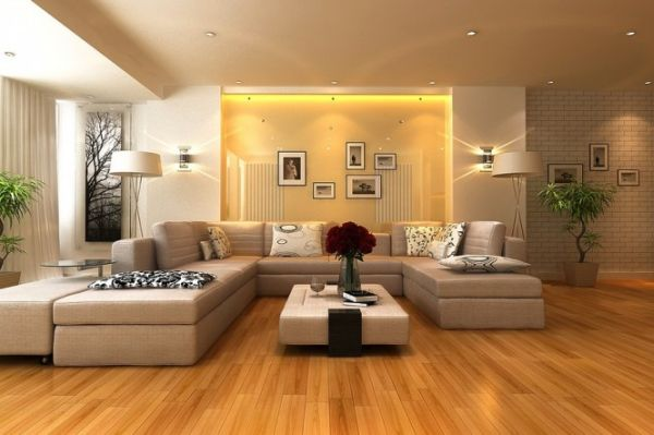 Stunning living room sports glossy surfaces and a golden hue