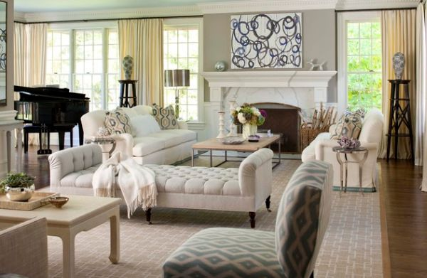 Stylish chaise lounge in cream for a comfortable living room