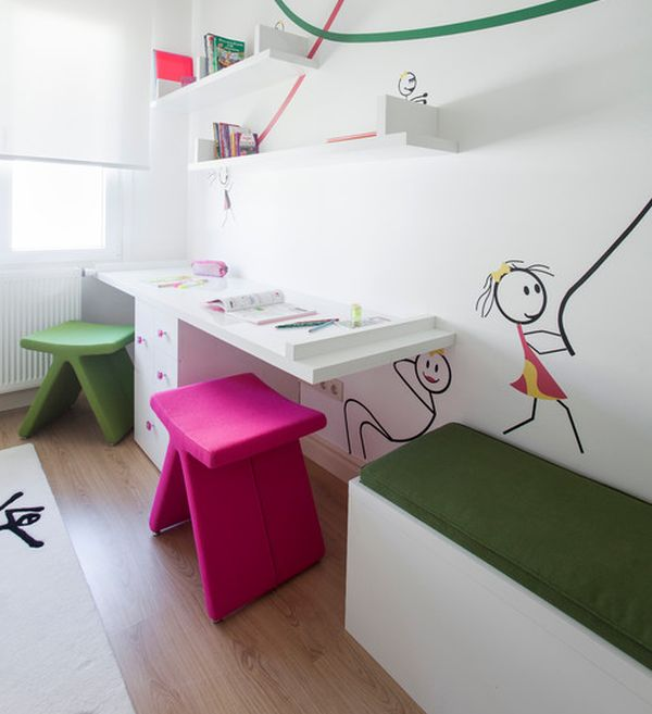 Stylish girls' desk design idea with lovely art work on the wall