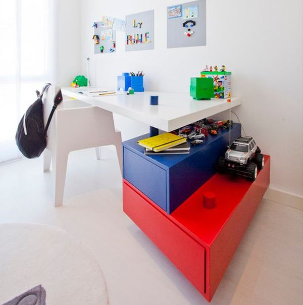 Stylish kids' workstation with colorful additions