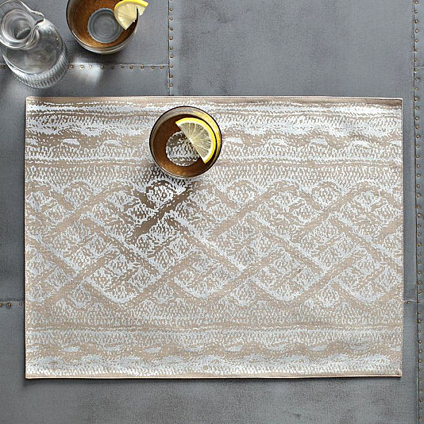 Subtle metallic placemats