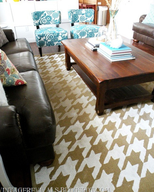 Tan and white houndstooth rug