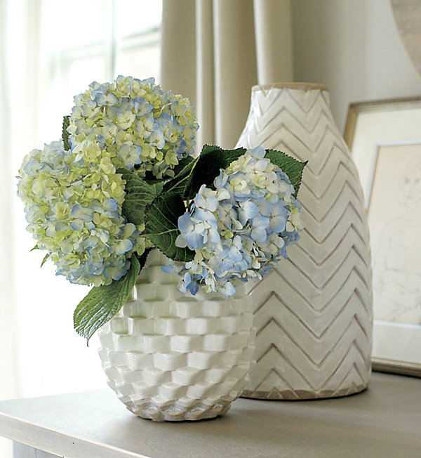 Textured vases in white