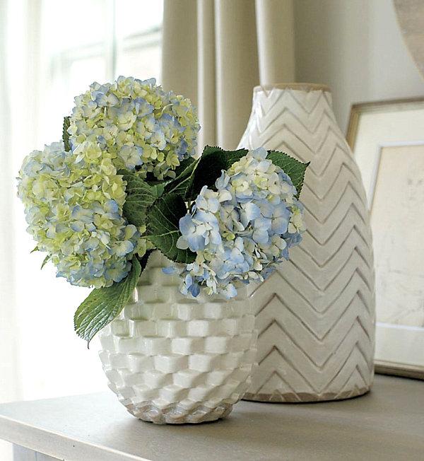 Textured vases in white