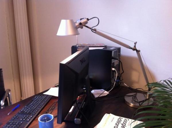 Tolomeo Desk Lamp Over Computer Monitor