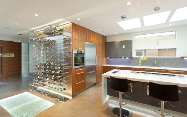 View In Gallery Transparent And Brilliant Addition To The Kitchen To Display Your Wine Collection Proudly