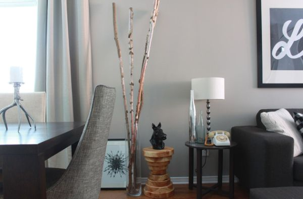 Transperant floor vase showcases real birch branches decoist for Floor vase ideas