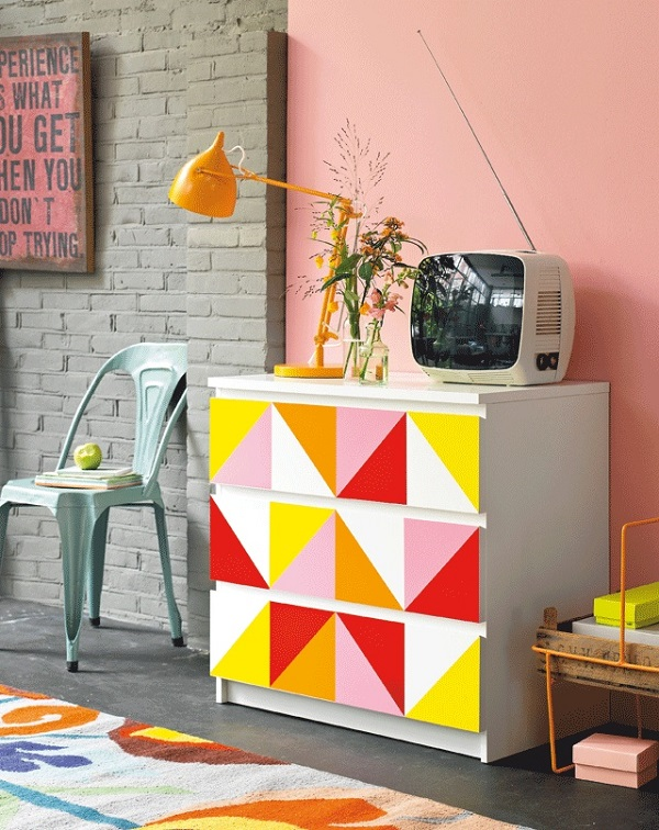 Triangle geometric dresser with warm color palette