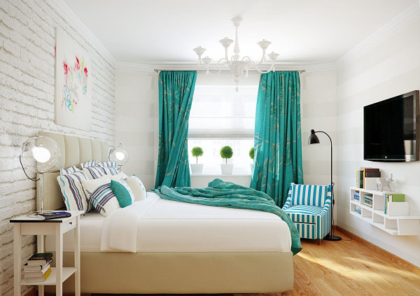Turquoise accents in a modern eclectic bedroom
