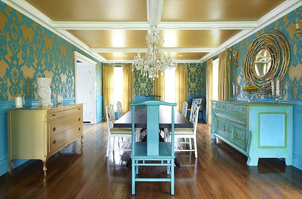 Turquoise blue dining room