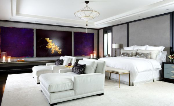 View In Gallery Twin Chaise Lounge Chairs In White Fill Up This  Contemporary Bedroom Beautifully
