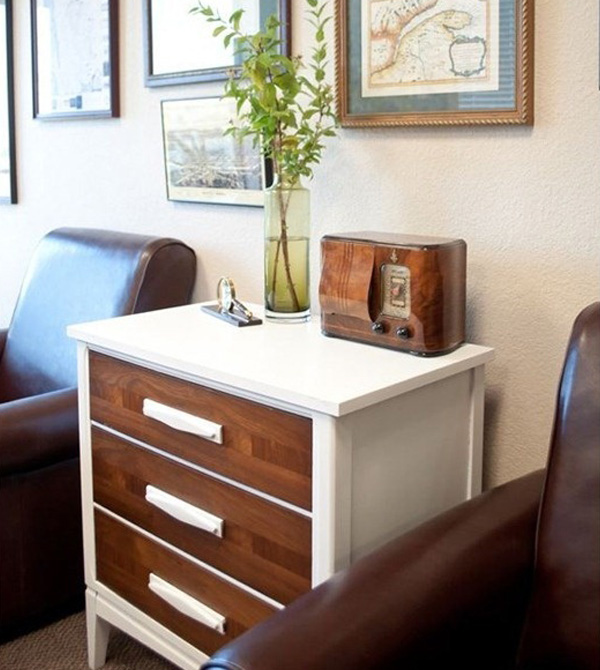 Two-tone brown and white dresser
