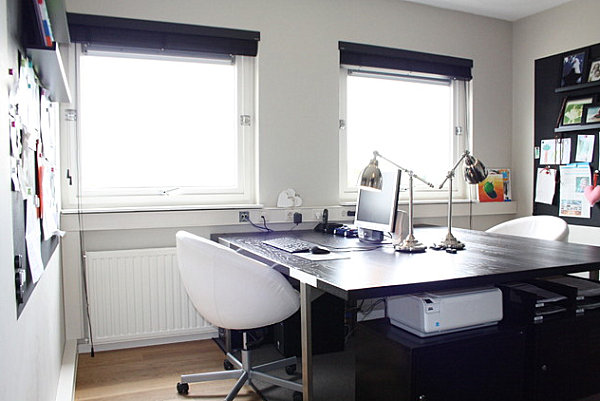 Under-desk storage in a home office