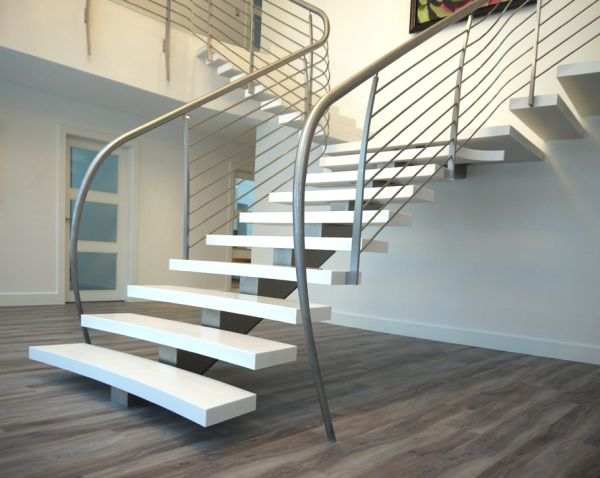 Suspended style 32 floating staircase ideas for the for Modern house stairs