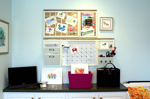 Utilizing wall space in a home office