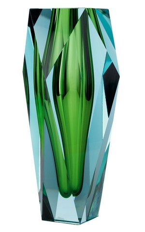 Vase in emerald green by Moser