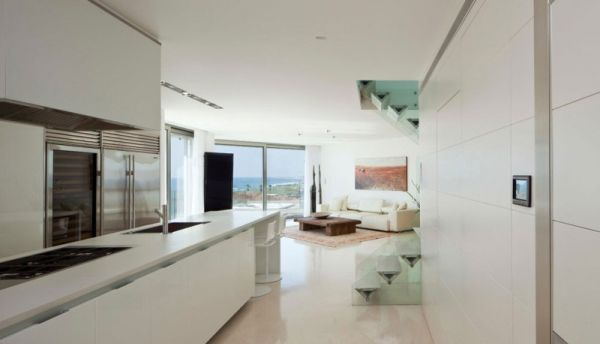 View from the modern kitchen Apartment KAZ In Israel Combines Work, Play And Awesome Ocean Views!