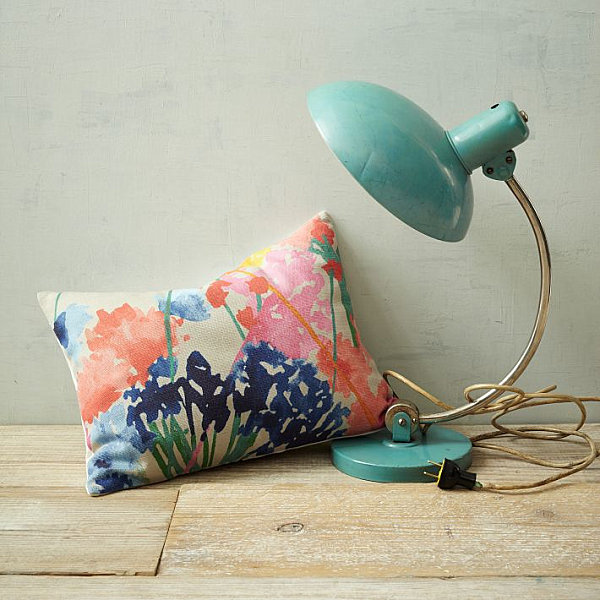 Watercolor-inspired floral pillow color