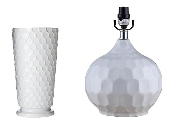 White ceramic honeycomb decor