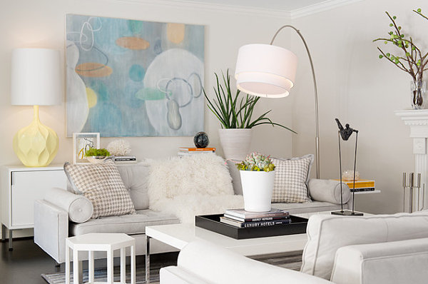 White living room with pastel accents