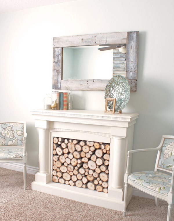 White log filled fireplace DIY
