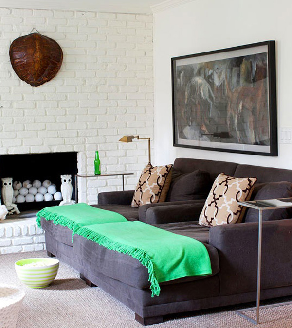 White painted brick fireplace DIY