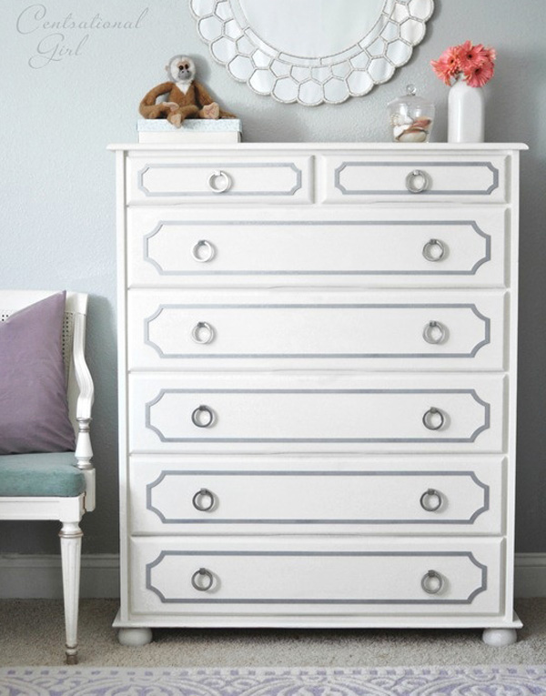 White painted dresser with slate gray trim
