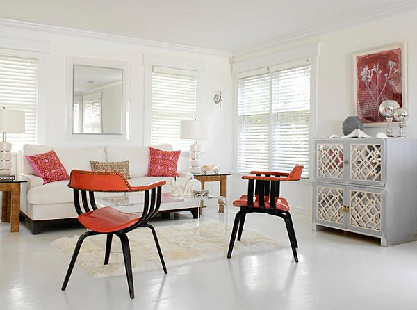 White painted floor in an eclectic living room 20 Painted Floors with Modern Style
